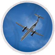 Round Beach Towel featuring the photograph Alaska Airlines Turboprop by Aaron Berg