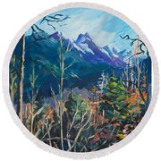 Alaska Autumn Round Beach Towel