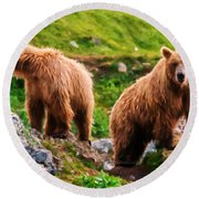 Alaska Brown Bears Round Beach Towel