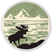 Alaska Denali National Park Poster Round Beach Towel