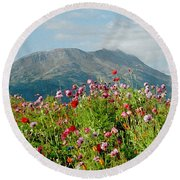 Alaska Flowers In September Round Beach Towel by Denyse Duhaime