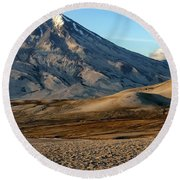 Round Beach Towel featuring the photograph Alaska Landscape Scenic Mountains Snow Sky Clouds by Paul Fearn