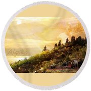 Round Beach Towel featuring the photograph Alaska Montage by Ann Lauwers