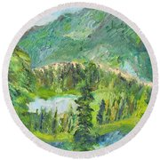 Alaska  Mountain Range Round Beach Towel
