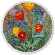 Alaska Poppies And Forgetmenots Round Beach Towel