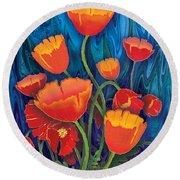 Round Beach Towel featuring the mixed media Alaska Poppies by Teresa Ascone
