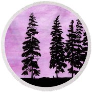 Round Beach Towel featuring the drawing Colorful - Alaska - Sunset by D Hackett