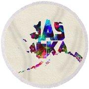 Alaska Typographic Watercolor Map Round Beach Towel