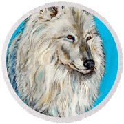 Round Beach Towel featuring the painting Alaska White Wolf by Bob and Nadine Johnston