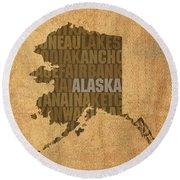 Alaska Word Art State Map On Canvas Round Beach Towel