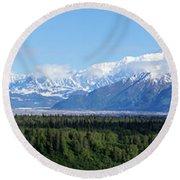 Alaskan Denali Mountain Range Round Beach Towel by Jennifer White