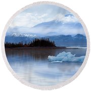 Round Beach Towel featuring the digital art Alaskan Mountain Side by Nina Bradica