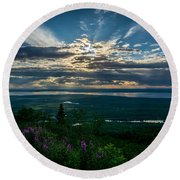 Alaskan Summer Sunset Round Beach Towel