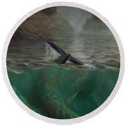 Humpback Whales - Underwater Marine - Coastal Alaska Scenery Round Beach Towel
