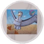 Albatross Landing Round Beach Towel by Susan Williams