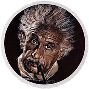 Albert Einstein Portrait Round Beach Towel