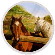 Round Beach Towel featuring the painting Alberta Horse Farm by Sher Nasser