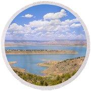 Albiquiu Reservoir, Route 84, New Mexico Round Beach Towel