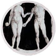 Albrecht Durer Adam & Eve Round Beach Towel