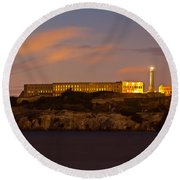 Alcatraz At Sunrise  Round Beach Towel by John McGraw