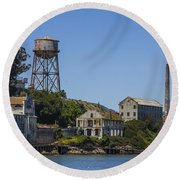 Alcatraz Dock And Water Tower Round Beach Towel by John McGraw