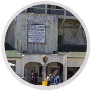 Alcatraz Entrance Indians Welcome Round Beach Towel by John McGraw