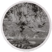 Alcatraz In San Fransico Round Beach Towel by John McGraw