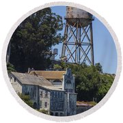 Alcatraz Water Tower Round Beach Towel by John McGraw