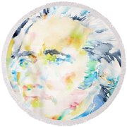 Alexander Hamilton - Watercolor Portrait Round Beach Towel by Fabrizio Cassetta