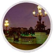 Alexander IIi Bridge, Paris, France Round Beach Towel