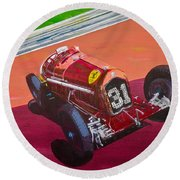 Round Beach Towel featuring the painting Alfa Romeo Tipo B P3  by Anna Ruzsan