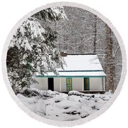 Round Beach Towel featuring the photograph Alfred Reagan's Home In Snow by Debbie Green