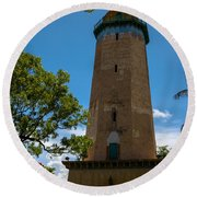 Alhambra Water Tower Of Coral Gables Round Beach Towel