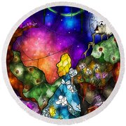 Alice's Wonderland Round Beach Towel