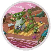 Alien Beach Vacation Round Beach Towel