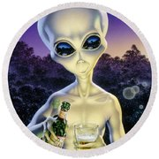 Alien Brew Round Beach Towel