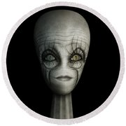 Alien Face Round Beach Towel