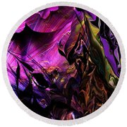 Round Beach Towel featuring the digital art Alien Floral Fantasy by David Lane