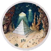 Alien Invasion - Space Art Painting Round Beach Towel