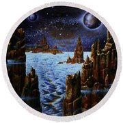 Ice And Snow  Planet  Round Beach Towel