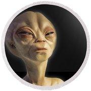 Alien Yearbook Photo Round Beach Towel by Gary Warnimont