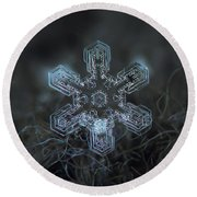 Round Beach Towel featuring the photograph Snowflake Photo - Alioth by Alexey Kljatov