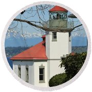 Alki Lighthouse Round Beach Towel