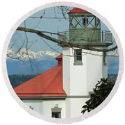 Alki Lighthouse II Round Beach Towel