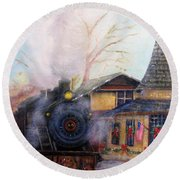 All Aboard At The New Hope Train Station Round Beach Towel