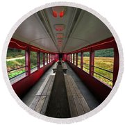 Round Beach Towel featuring the photograph All Aboard Tioga Central Railroad by Suzanne Stout