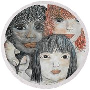 Round Beach Towel featuring the painting All God's Children by Eloise Schneider