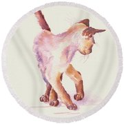 All Legs And Mischief Round Beach Towel