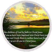 All One In Christ Jesus Round Beach Towel