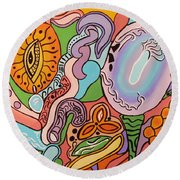 All Seeing Egg Salad Round Beach Towel by Barbara St Jean
